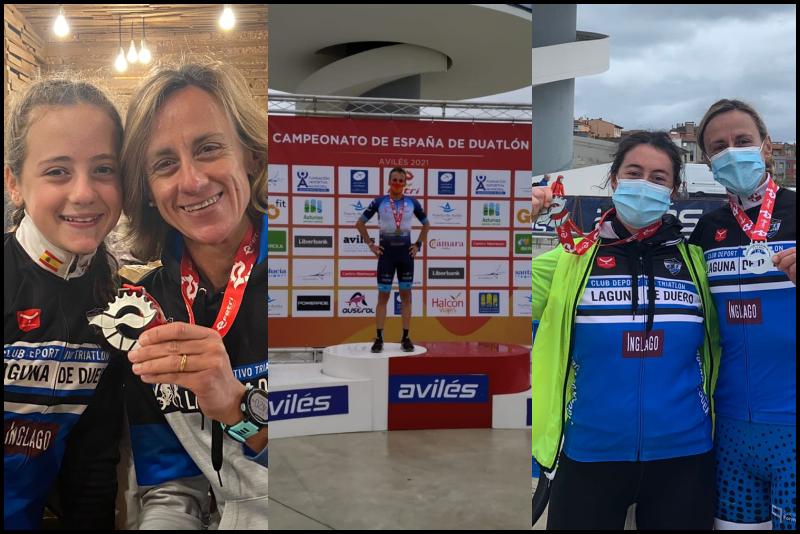 Tres triatletas laguneros se suben al podio en el Campeonato de España de Duatlón