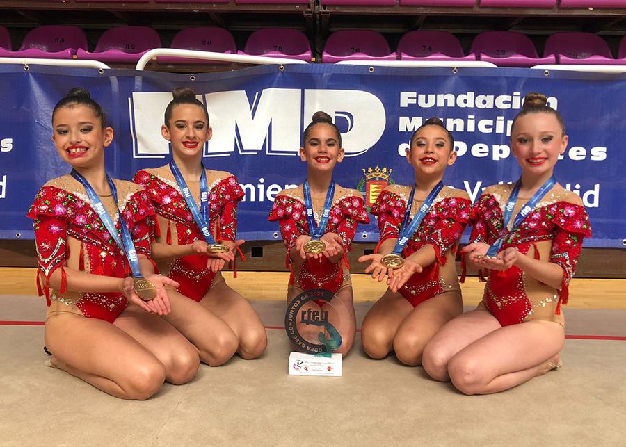 El conjunto de Alba Acosta, campeón de España en la Copa Nacional Base Conjuntos de gimnasia rítmica